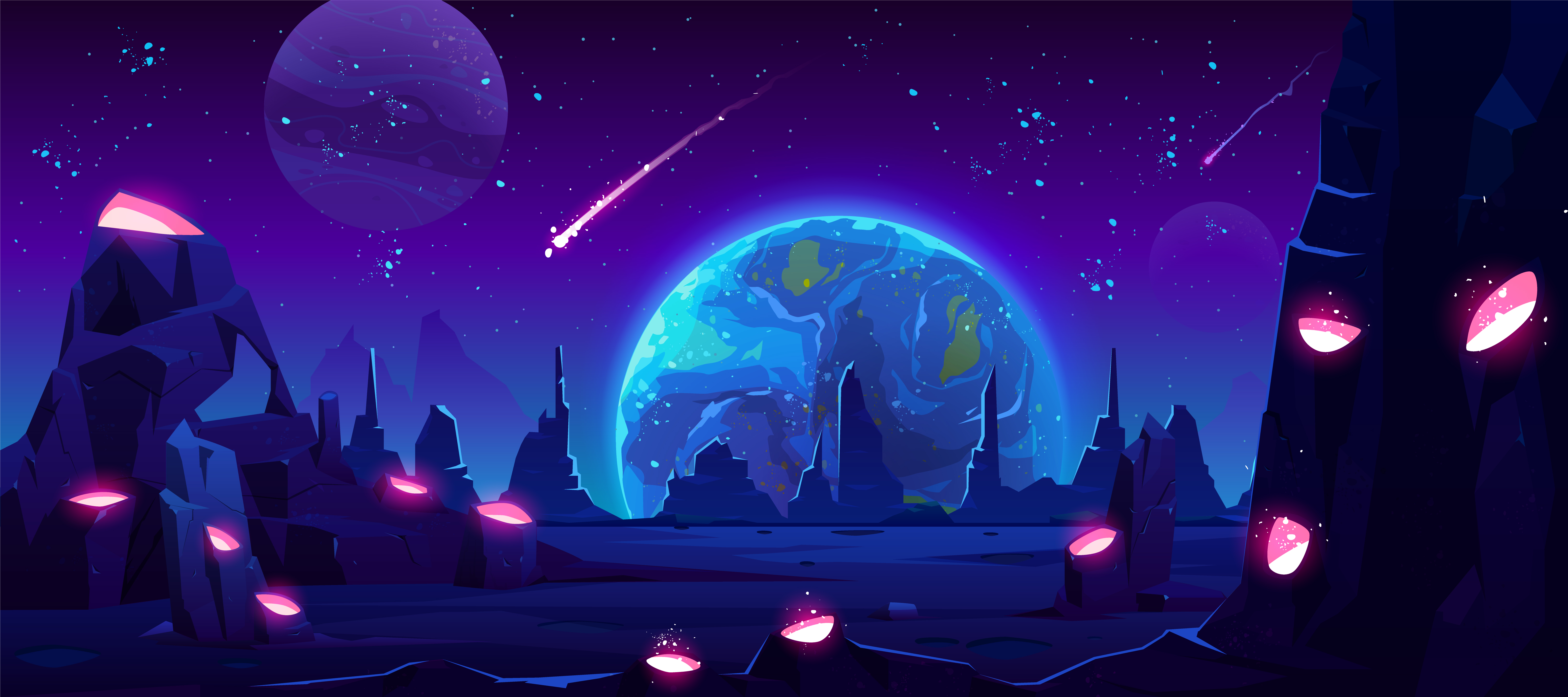 Earth view from alien planet by night - Designed by vectorpouch / Freepik